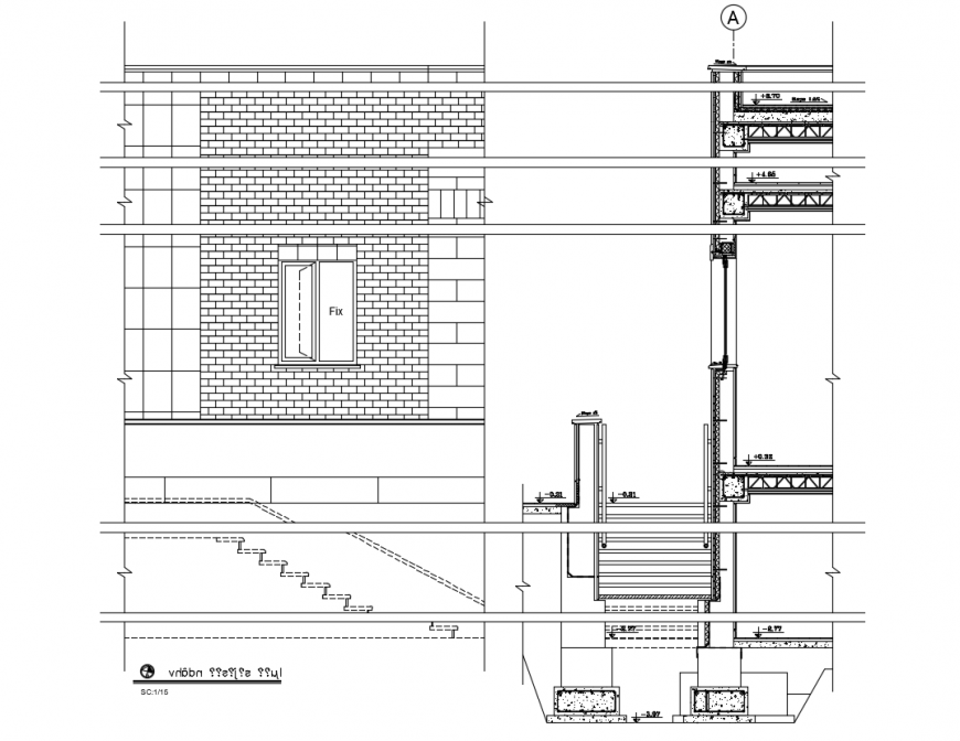 Villa Sectional elevation plan  dwg file.