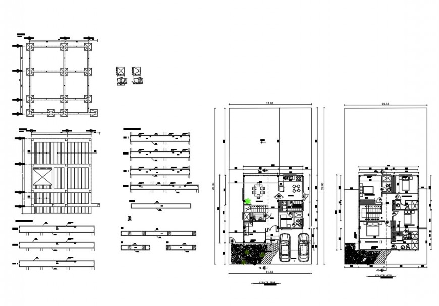 Villa two-level floor plan and foundation plan cad drawing details dwg file
