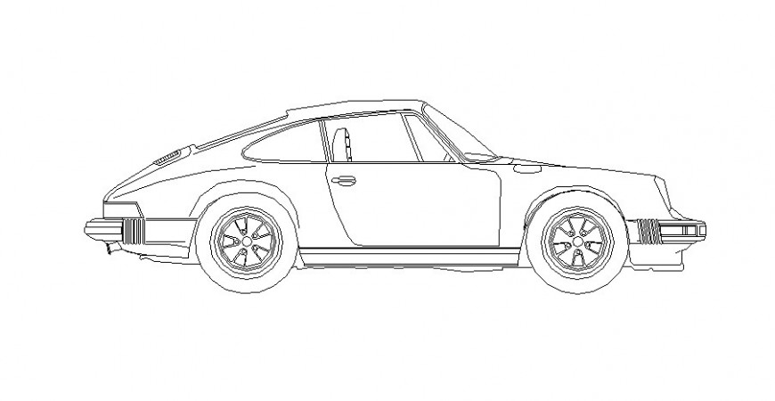 Vintage Car elevation drawing detail in AutoCAD file.