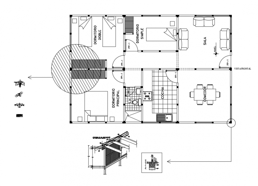 Vivinda one family house layout plan cad drawing details dwg file
