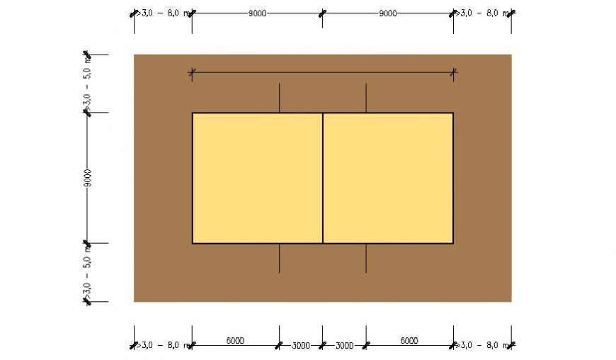 Volley ball court ground plan details 2d view autocad file