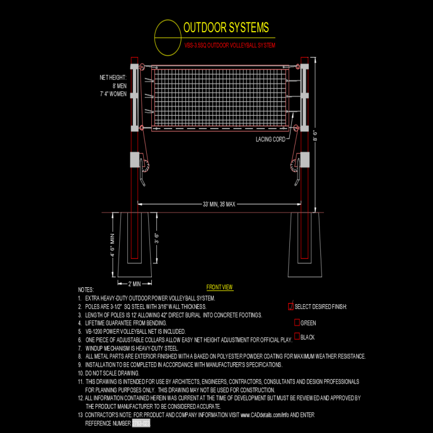 Volley ball outdoor system with net and sport view dwg file