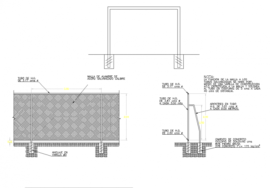 Volleyball elevation and section plan detail dwg file