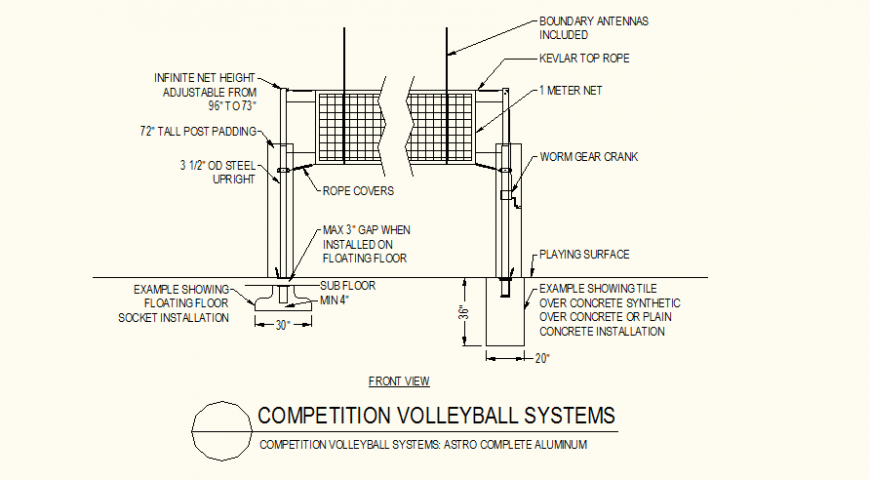 Volleyball system detail plan and elevation layout file