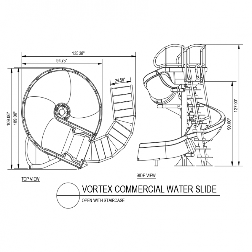 Vortex commercial water slide with open with staircase top and side view dwg file