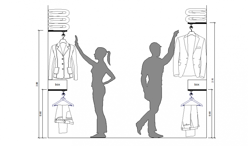 Walk-in closet section of wardrobe cad drawing details dwg file