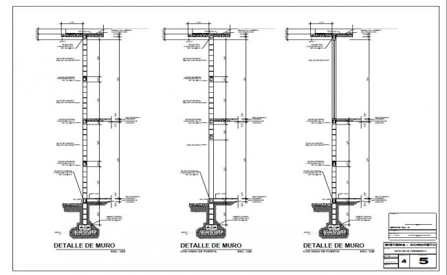 wall closing construction cad drawing details dwg file