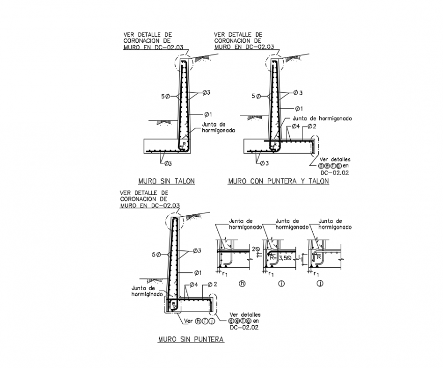 Wall construction details with reinforcement concrete dwg file