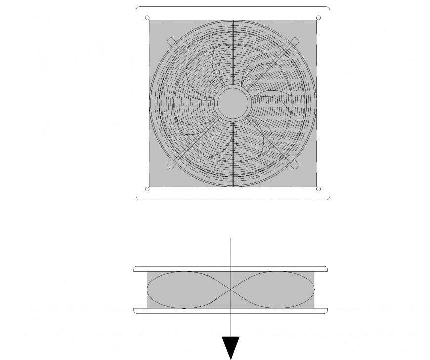 Wall Fan plan and elevation dwg file