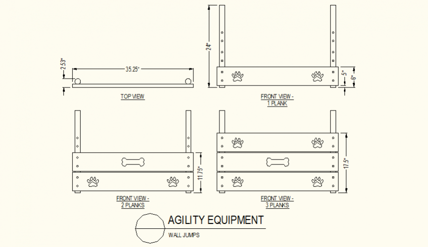 Wall jumps detail plan and elevation autocad file