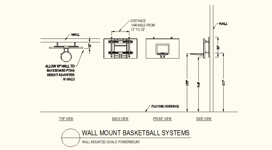 Wall mount power-mount detail plan and elevation autocad file
