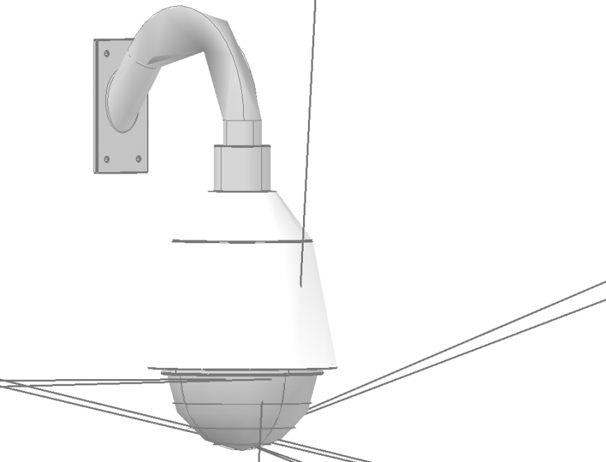 wall mounted cctv PTZ camera 3d drawing in dwg file.