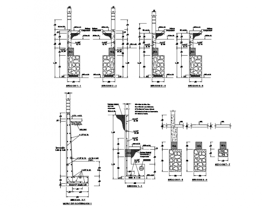 Wall section and construction details of building with column dwg file