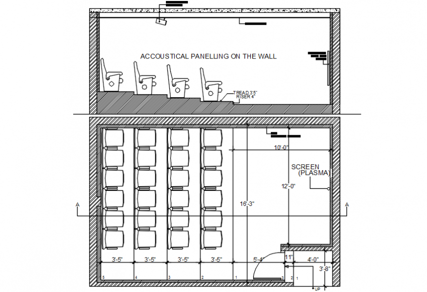 Wall section and screen layout plan drawing details for theater dwg file
