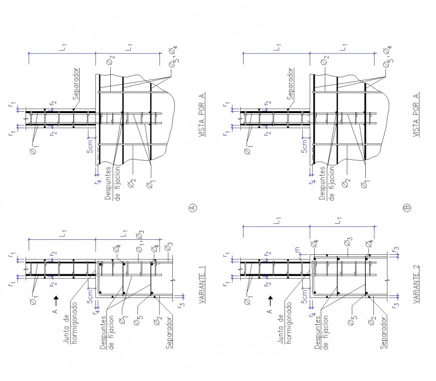 Wall to column foundation plan dwg file