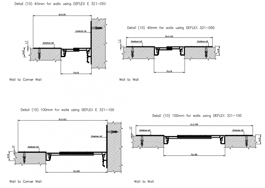Wall to corner wall expansion joint plan dwg file