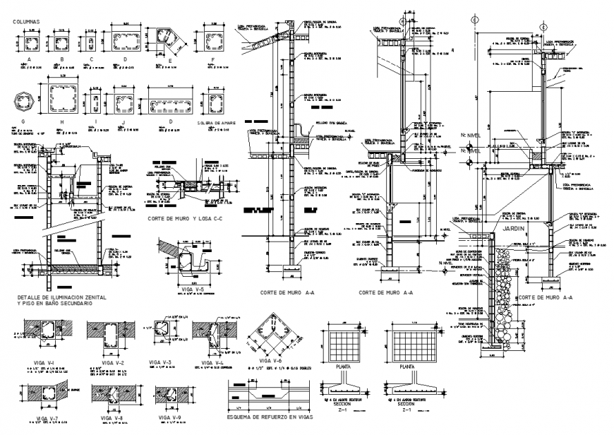 Walls sectional plan and column detail elevation layout file