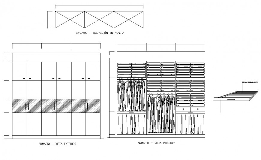 Ward-robe cupboard detailing 2d view CAD furniture blocks layout dwg file
