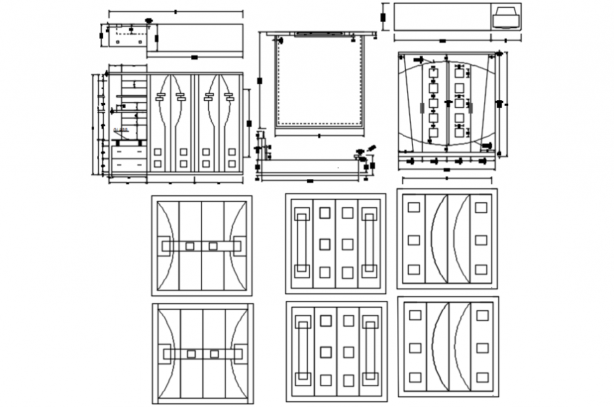 Wardrobe all sided elevation, section and plan drawing details dwg file