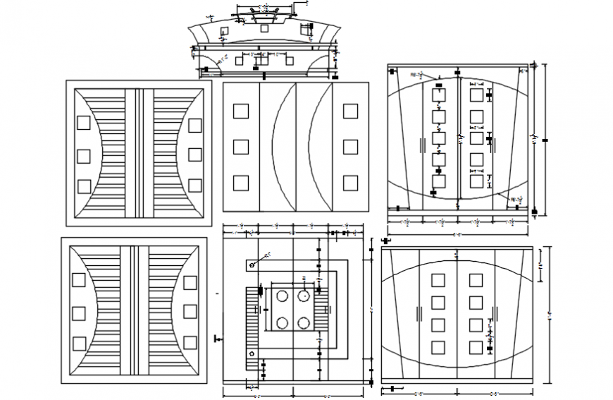 Wardrobe all sided elevation and carpentry details dwg file