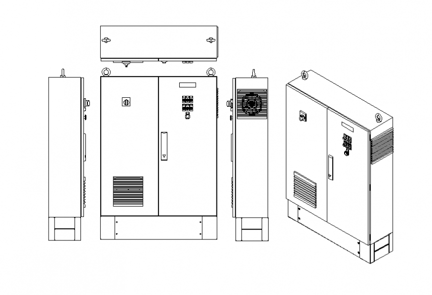 Wardrobe all sided elevation and isometric view cad block details dwg file