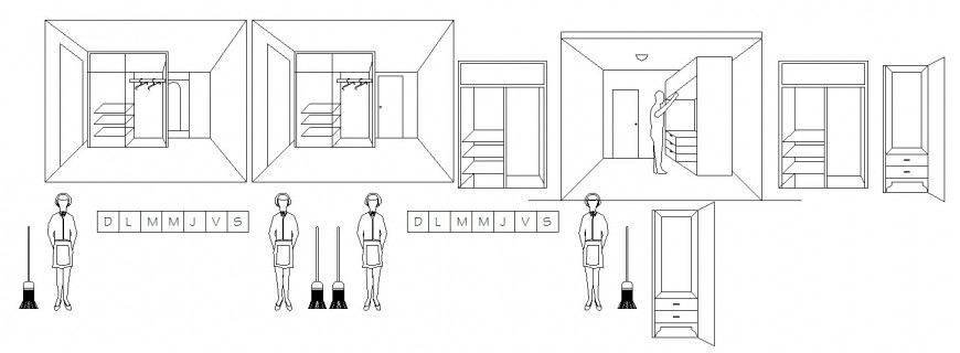 Wardrobe and dressing table elevation and 2d model details dwg file