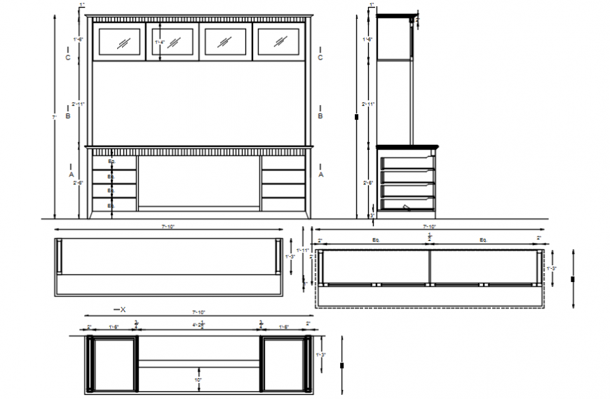 Wardrobe and dressing table for bedroom elevation, section and carpentry cad drawing details dwg file