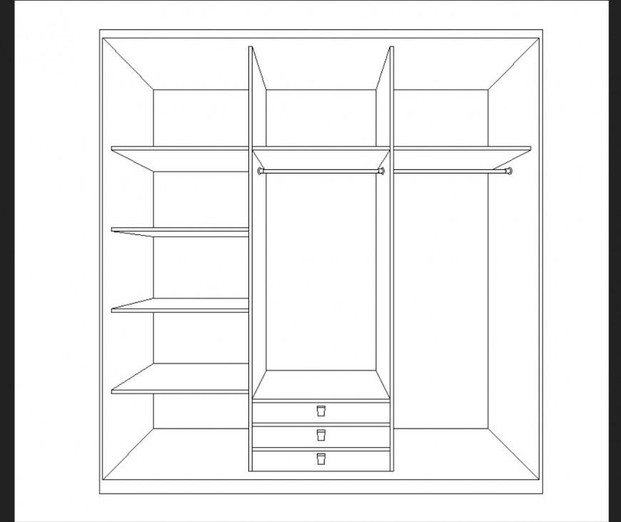 Wardrobe CAD furniture blocks detail layout file in autocad format