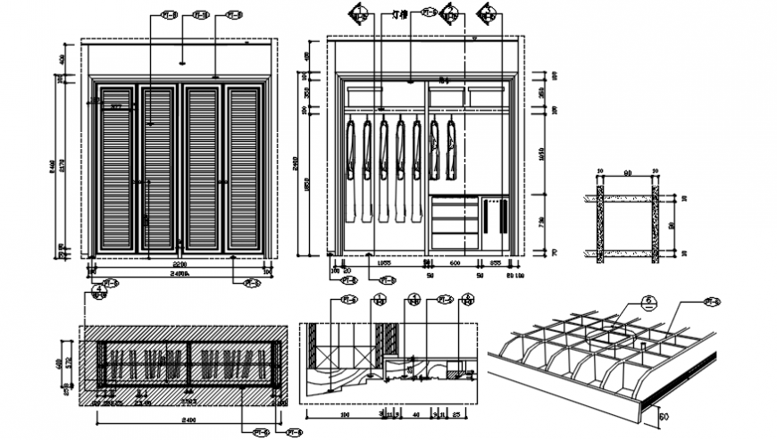Wardrobe closet elevation, section, plan and carpentry drawing details dwg file