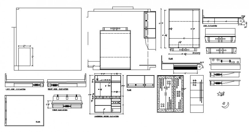 Wardrobe design drawings 2d view elevation autocad software file