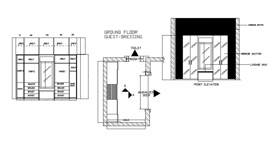 Wardrobe dressing table elevation and drawing details dwg file