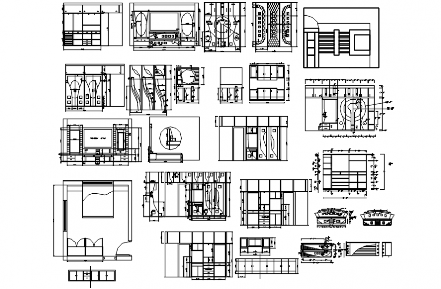 Wardrobe elevation, section, plan, furniture and carpentry details dwg file