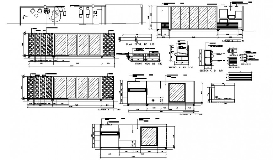 Wardrobe elevation, section, plan and carpentry and furniture drawing details dwg file