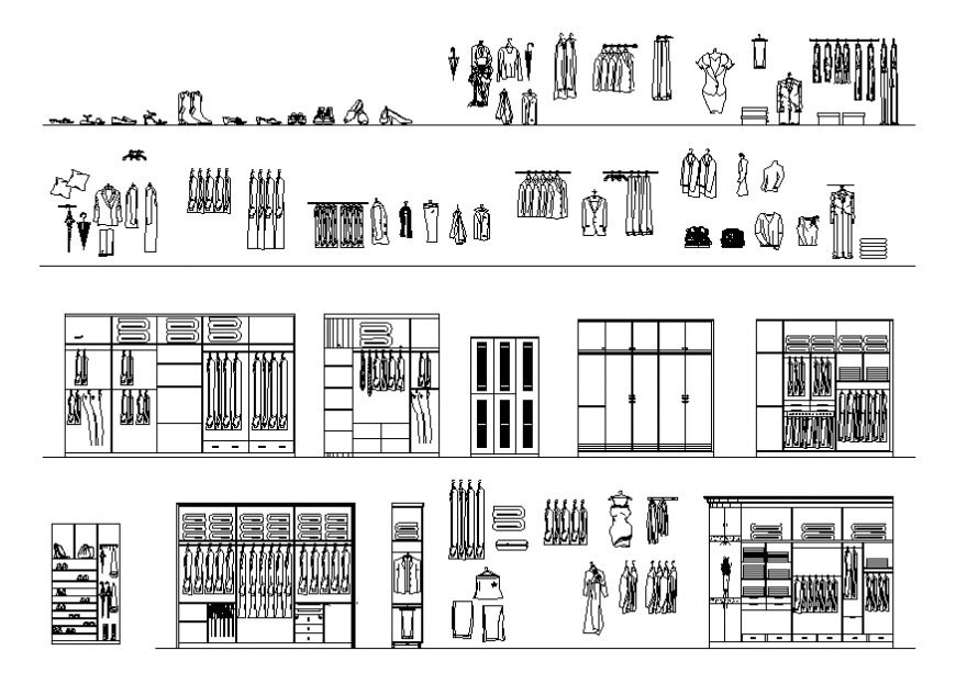 Wardrobe elevation, section, plan and clothes blocks details dwg file