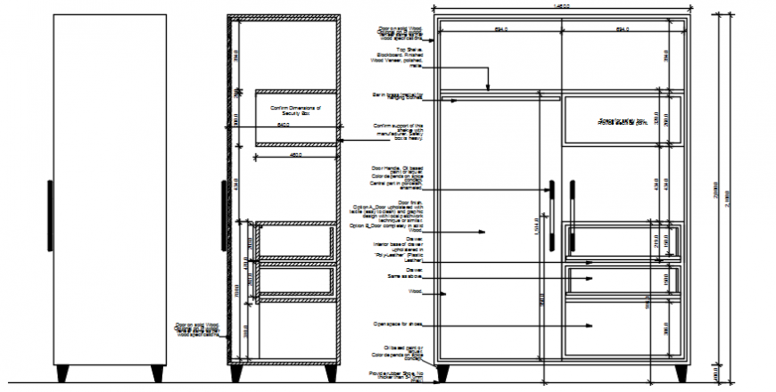 Wardrobe elevation and section view in auto cad file