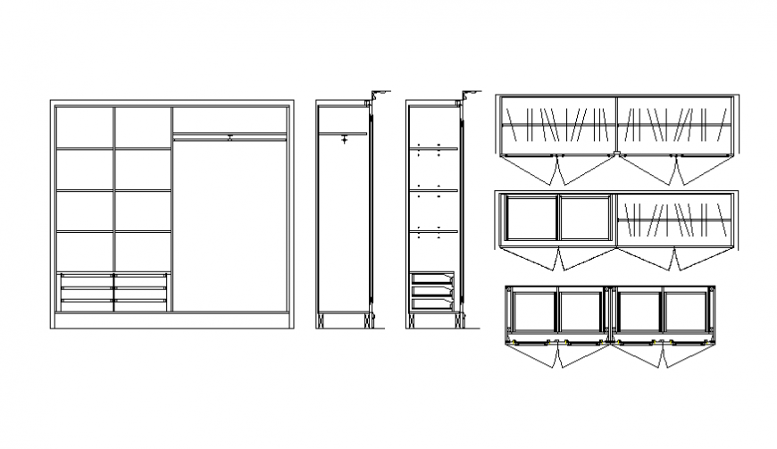 Wardrobe elevation and sectional details dwg file