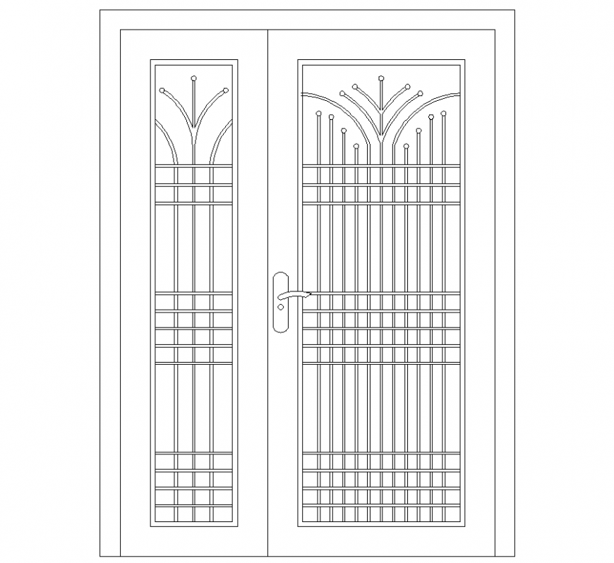 Wardrobe elevation with furniture detail dwg file