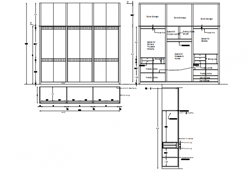 Wardrobe for bedroom elevation, section and carpentry cad drawing details dwg file