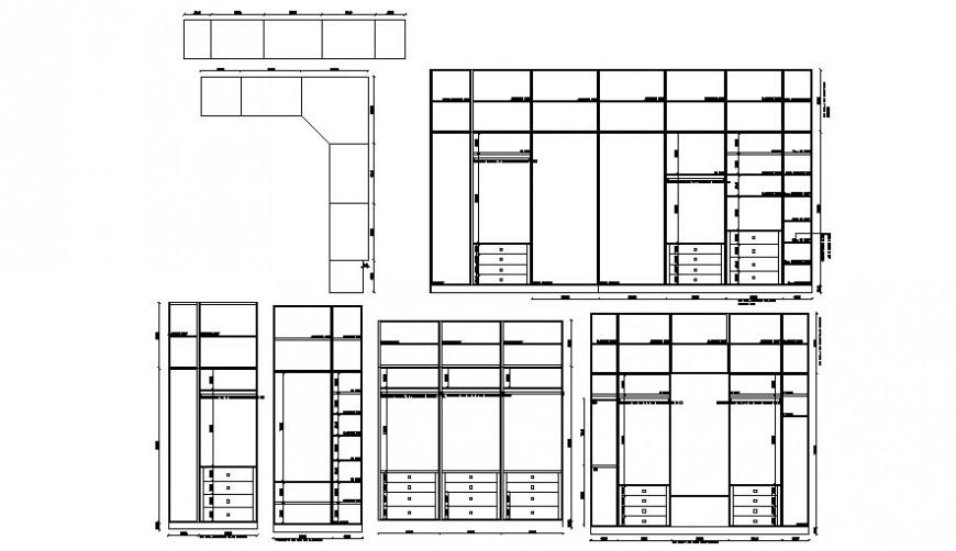 Wardrobe furniture blocks drawings 2d view elevation autocad file