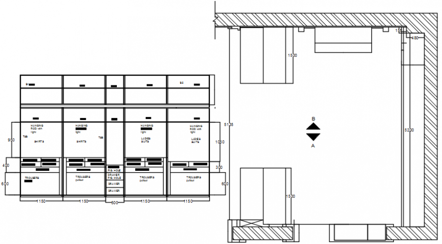 Wardrobe furniture blocks drawings details 2d view autocad software file