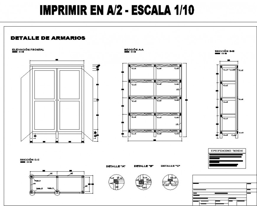 Wardrobe plan and joinery detail drawing in dwg file.
