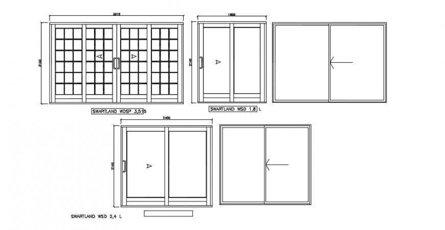 Wardrobe slider front sectional elevation 2d dwg file