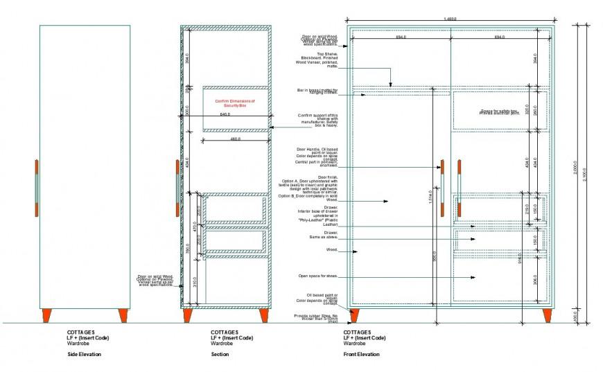 Wardrobe unit detail elevation 2d view CAD furniture block autocad file