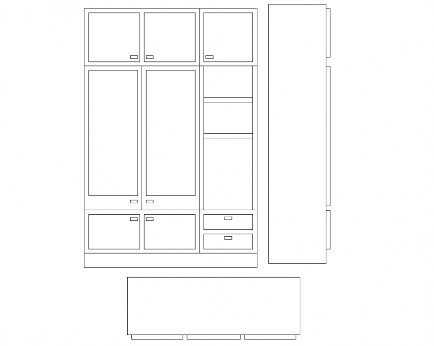 Wardrobe unit simple view elevation with furniture view dwg file