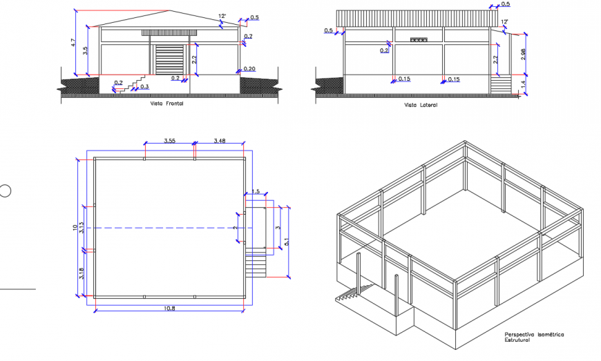 Ware House Box design with elevation & prespective view