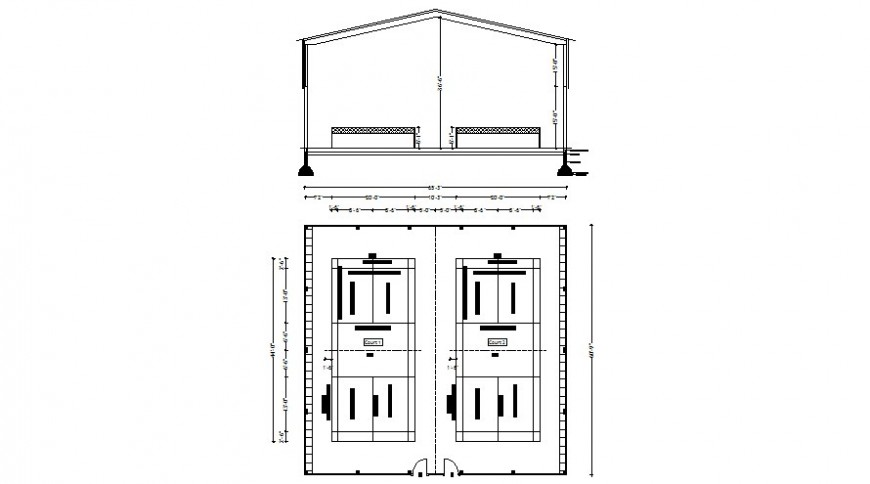 Ware house drawings details elevation and plan 2d view autocad file