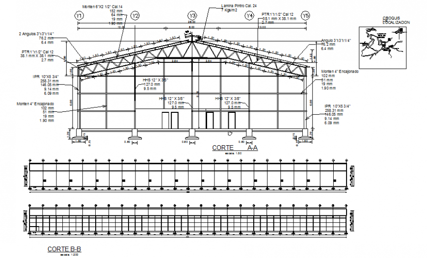 Warehouse constructive structure details with roof structure cad drawing details dwg file