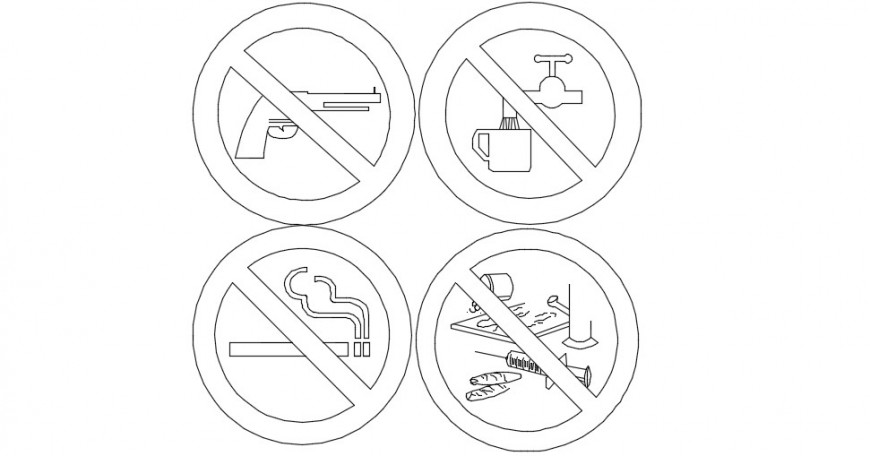 Warning signs and symbols, indication 2d front view dwg file