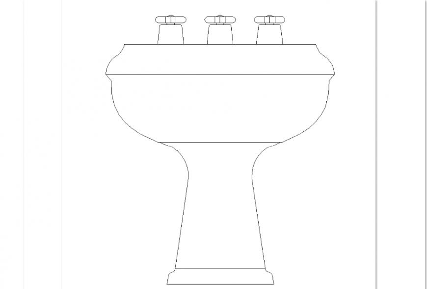 Wash basin elevation design of bathroom detail dwg file