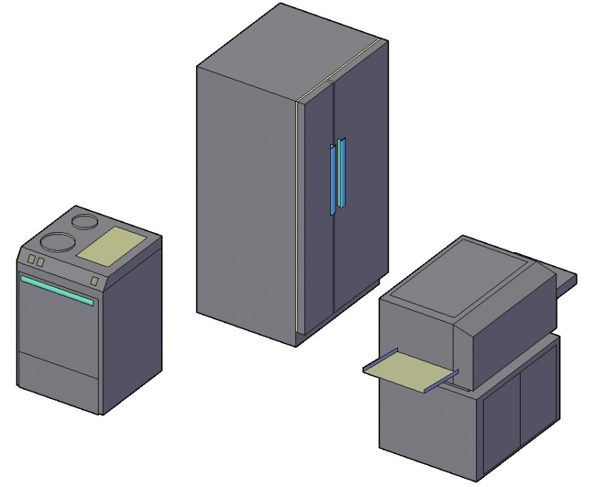 Washing machine and 3d household equipment blocks details dwg file